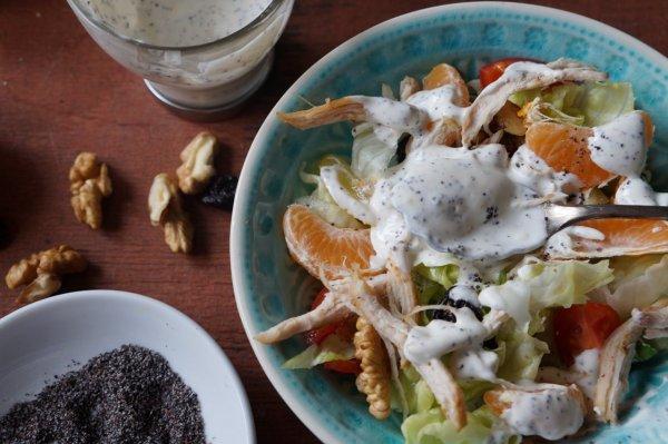 Saláta mákos dresszingel